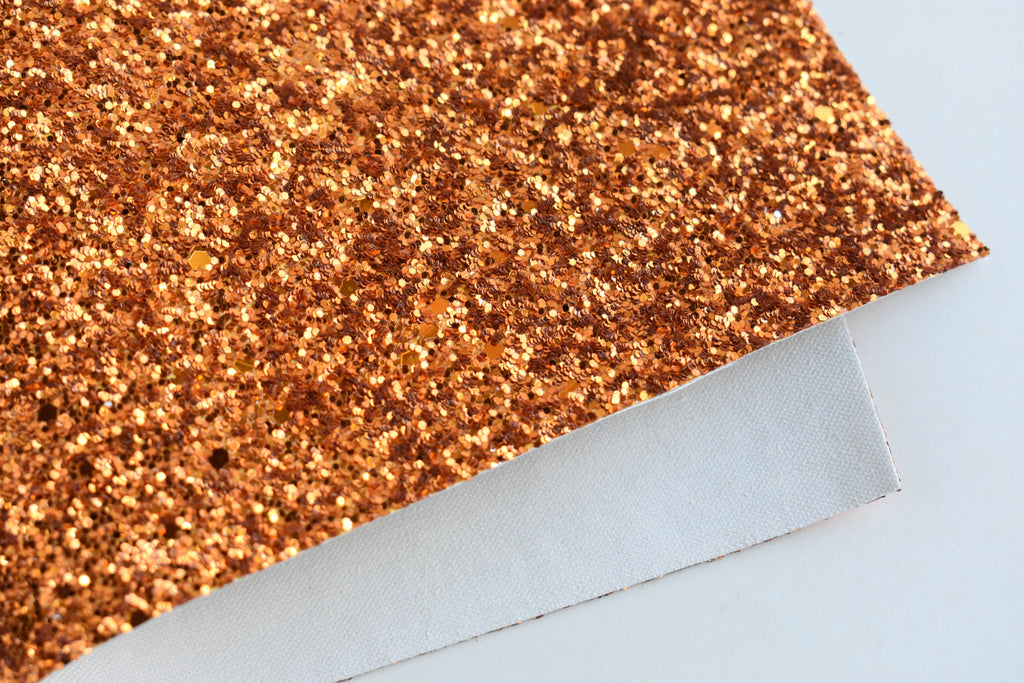 Orange Diamond Chunky Glitter Fabric Sheet