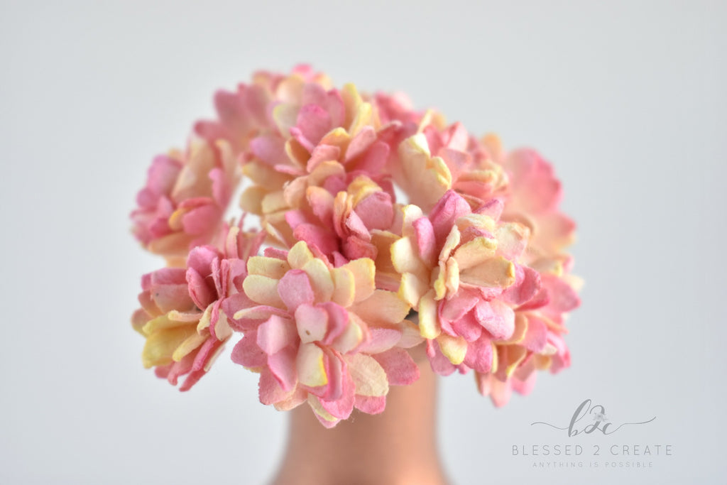 10 Pink and Yellow Aster Mulberry Paper Flowers