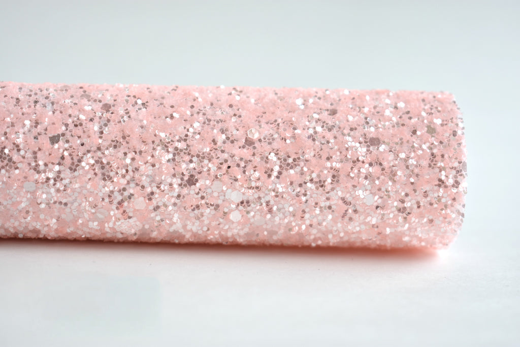 Soft Blush Frosted Chunky Glitter Fabric Sheet