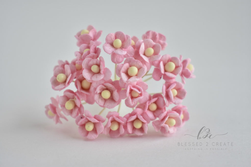 10 Itty Bitty Baby Pink Sweetheart Blossom Mulberry Paper Flowers