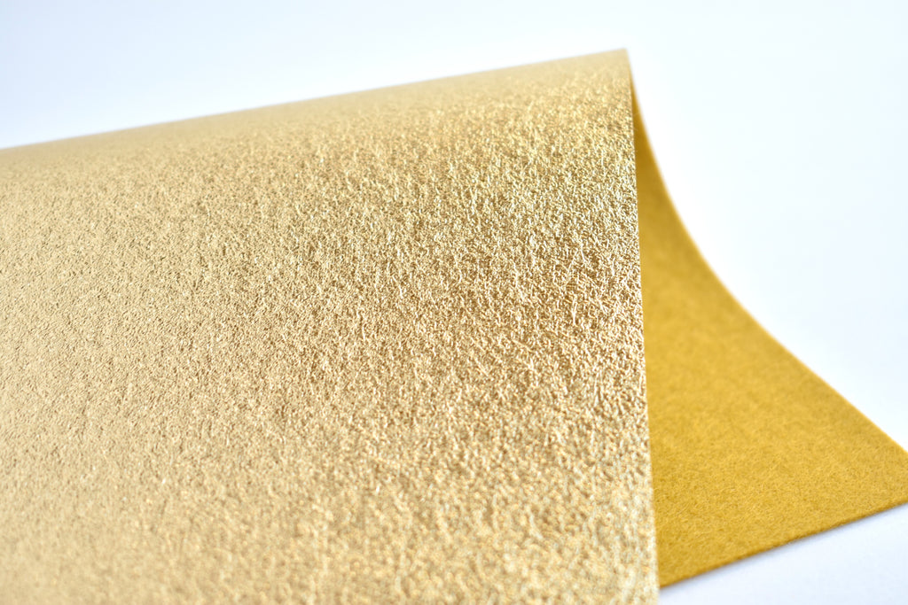 "6""x9.5"" Gold Brushed Metallic 100% Merino Wool Felt Sheet"