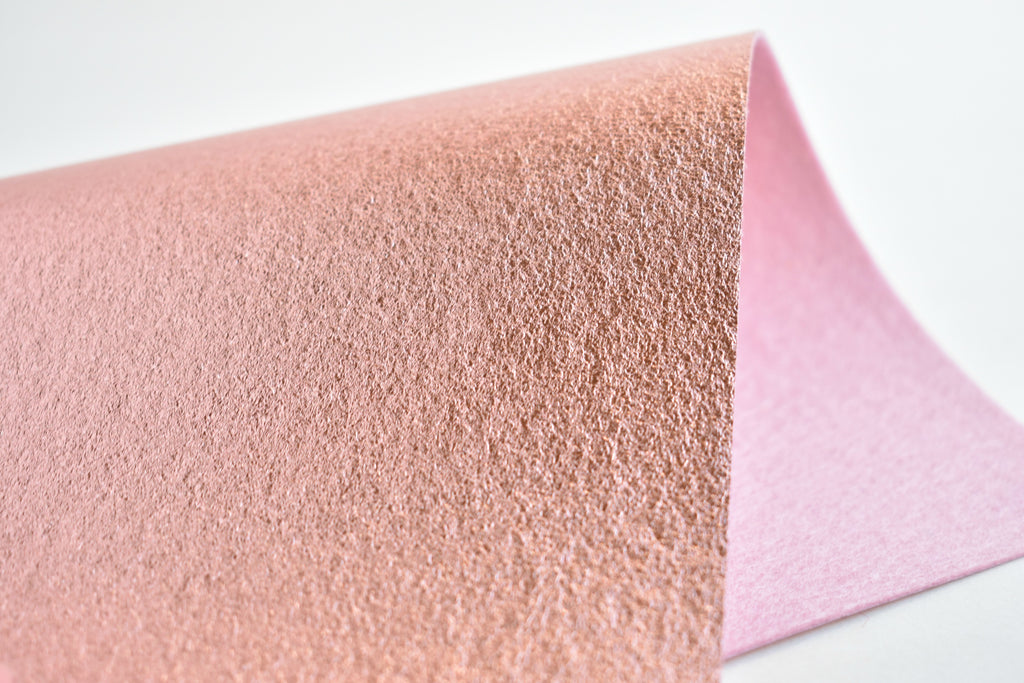 "6""x9.5"" Rose Gold Brushed Metallic 100% Merino Wool Felt Sheet"