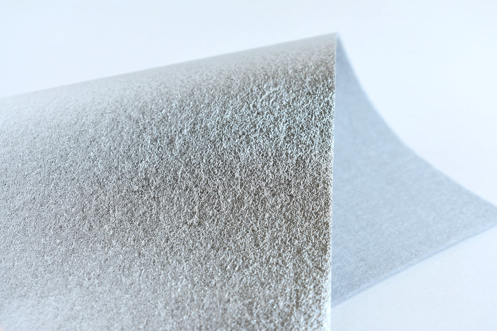 "6""x9.5"" Silver Brushed Metallic 100% Merino Wool Felt Sheet"