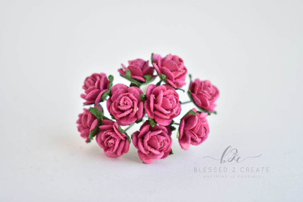 10 - 10mm Fuchsia Rose Mulberry Paper Flowers