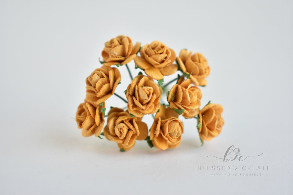 10 - 10mm Old Gold Rose Mulberry Paper Flowers