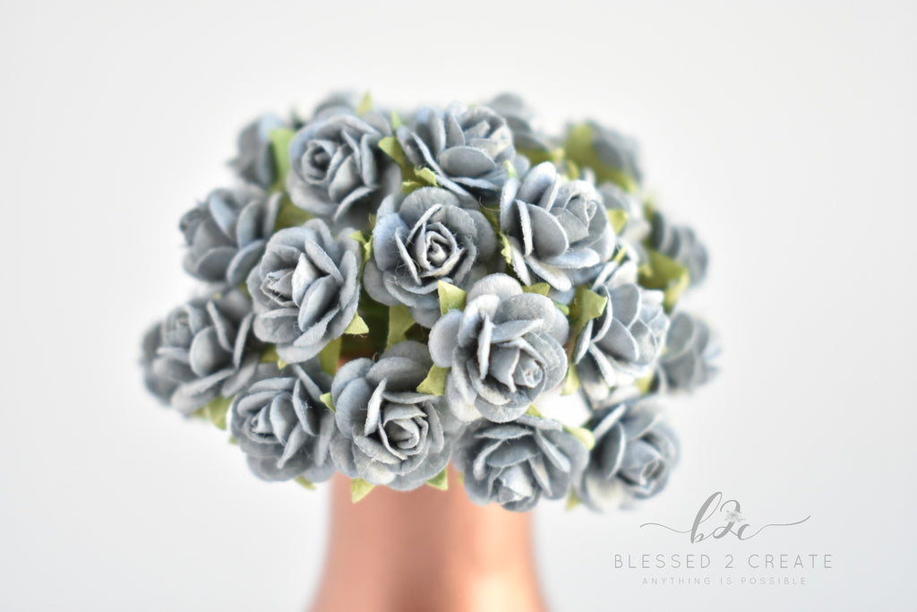 10 - 10mm Gray Rose Mulberry Paper Flowers