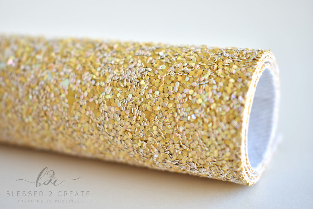 Honey Mustard Iridescent Chunky Glitter Fabric Sheet