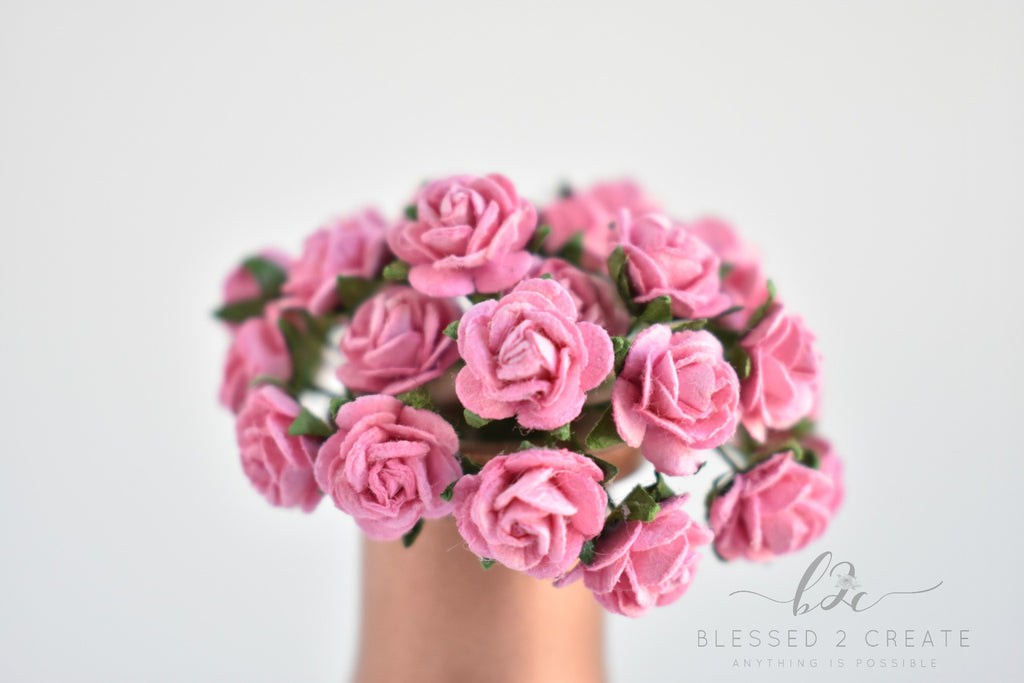 10 - 10mm Pink Rose Mulberry Paper Flowers