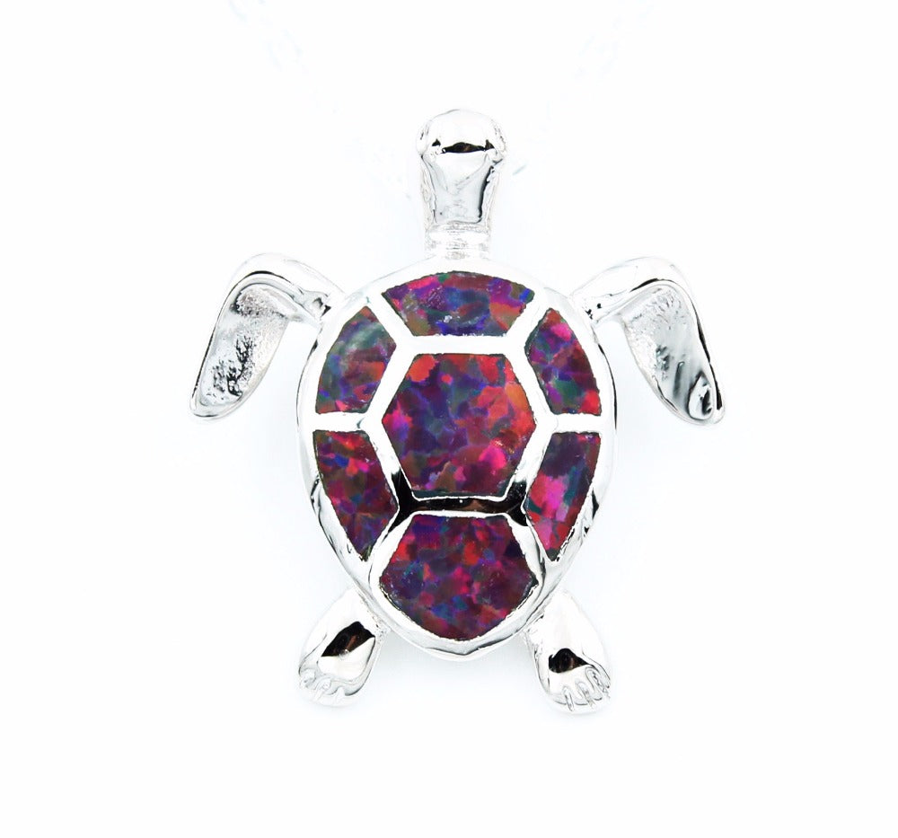 White Fire Opal Stone Sea Turtle Pendant Necklace-Asaitea