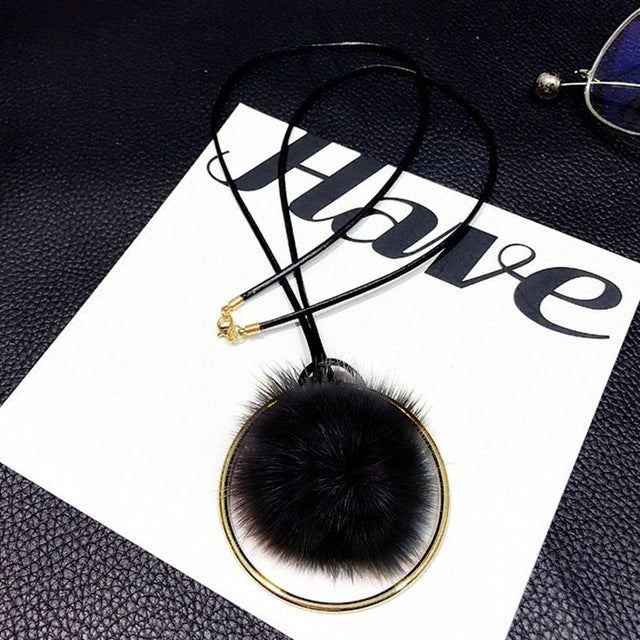 Golden Circle Plush Fur Pompom Ball Pendant Necklace-Asaitea