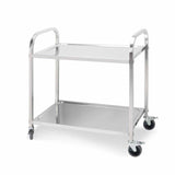 2 Tier Stainless Steel Kitchen Dining Food Cart Trolley Utility Size 85x45x90cm Medium