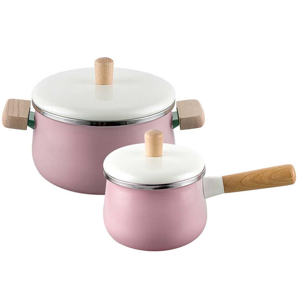 22cm Enamel Milk Pot Ceramic Saucepan with Lid Stockpot Set Pink