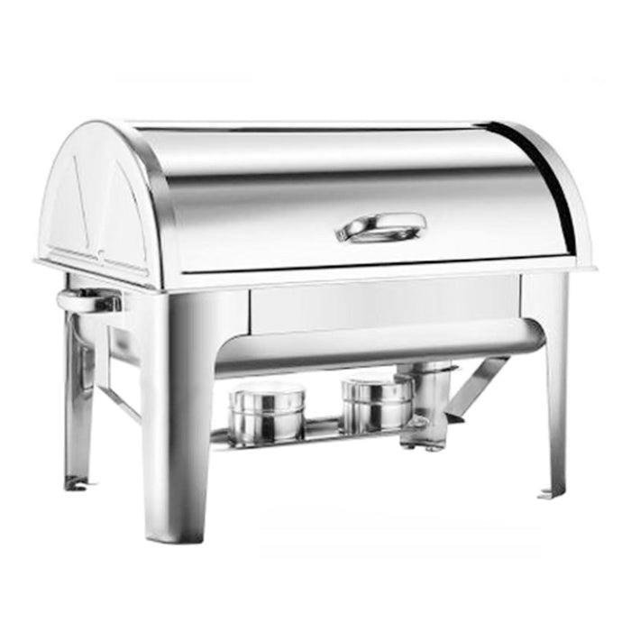 2*4.5L Stainless Steel Roll Top Chafing Dish Dual Trays Food Warmer