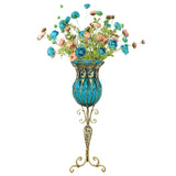 85cm Blue Glass Tall Floor Vase and 12pcs Blue Artificial Fake Flower Set