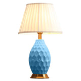 Textured Ceramic Oval Table Lamp with Gold Metal Base Blue