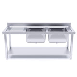 160*70*85 Stainless Steel Work Bench Right Dual Sink Commercial Restaurant Kitchen Food Prep