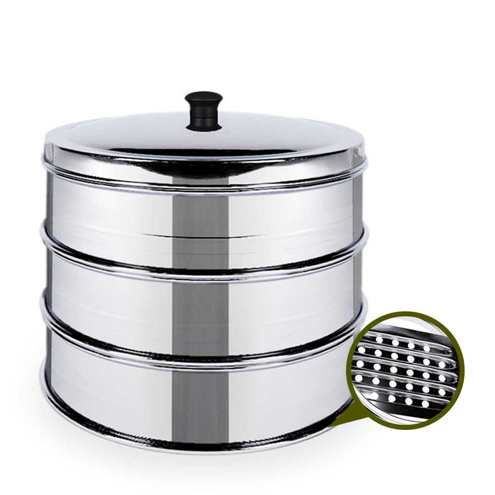 3 Tier 28cm Stainless Steel Steamers With Lid Work inside of Basket Pot Steamers