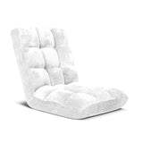 Floor Recliner Folding Lounge Sofa Futon Couch Folding Chair Cushion White