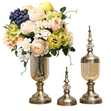 2x Clear Glass Flower Vase with Lid and White Flower Filler Vase Bronze Set