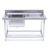 Stainless Steel Work Bench Sink Commercial Restaurant Kitchen Food Prep 160*70*85cm