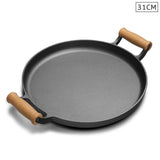 31cm Cast Iron Frying Pan Skillet Steak Sizzle Fry Platter With Wooden Handle No Lid