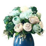 3pcs Artificial Silk with 15 Heads Flower Fake Rose Bouquet Table Decor Blue