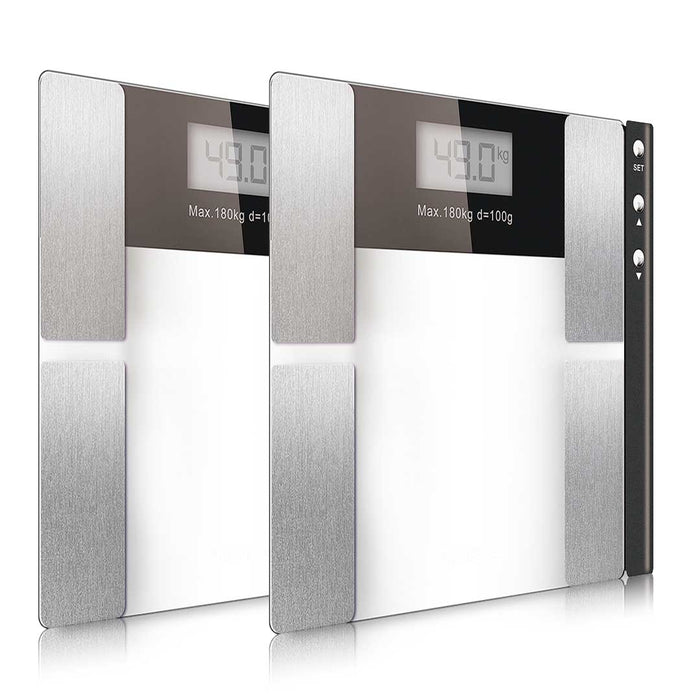 2x Glass Digital Body Fat Scale Bathroom Scales Weight Gym Glass Water LCD Electronic