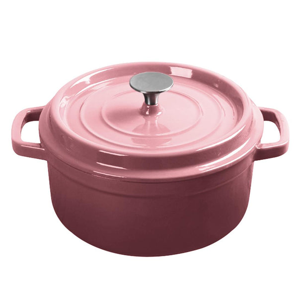 Cast Iron 24cm Enamel Porcelain Stewpot Casserole Stew Cooking Pot With Lid 3.6L Pink
