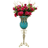 85cm Blue Glass Tall Floor Vase and 12pcs Red Artificial Fake Flower Set