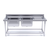 Stainless Steel Double Sink Bowl Work Bench Commercial Restaurant Food Prep 160*70*85cm