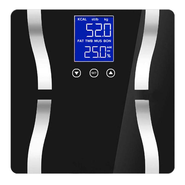Digital Body Fat Scale Bathroom Scales Weight Gym Glass Water LCD Electronic Black