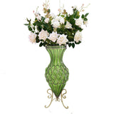 67cm Green Glass Tall Floor Vase and 12pcs White Artificial Fake Flower Set