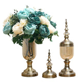 2 x Clear Glass Flower Vase with Lid and Blue Flower Filler Vase Bronze Set