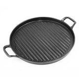 30cm Ribbed Cast Iron Frying Pan Skillet Non-stick Coating Steak Sizzle Platter