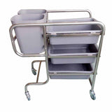 3 Tier Food Trolley Food Waste Cart Five Buckets Kitchen Food Utility 81x43x87cm Round