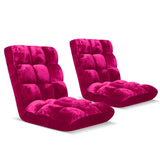 Floor 2x Recliner Folding Lounge Sofa Futon Couch Folding Chair Cushion Red Burgundy