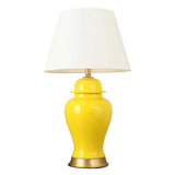 Oval Ceramic Table Lamp with Gold Metal Base Desk Lamp Yellow