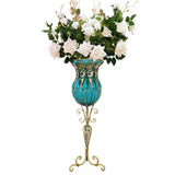 85cm Blue Glass Tall Floor Vase and 12pcs White Artificial Fake Flower Set