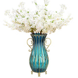 51cm Blue Glass Tall Floor Vase and 10pcs White Artificial Fake Flower Set