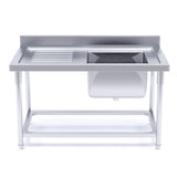 120*70*85 Stainless Steel Work Bench Right Sink Commercial Restaurant Kitchen Food Prep