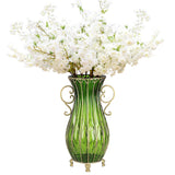 51cm Green Glass Tall Floor Vase and 10pcs White Artificial Fake Flower Set