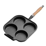4 Mold Cast Iron Breakfast Fried Egg Pancake Omelette Non-stick Fry Pan