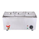 Stainless Steel Electric Bain-Maire Food Warmer with Pans and Lids 3*3L