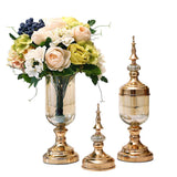 2 x Clear Glass Flower Vase with Lid and White Flower Filler Vase Gold Set