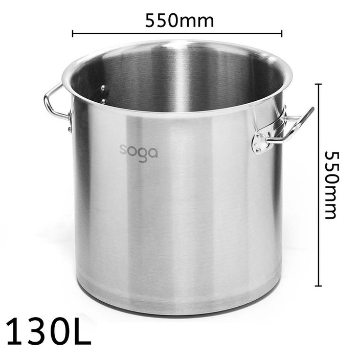 Stock Pot 130L Top Grade Thick Stainless Steel Stockpot 18/10 Without Lid