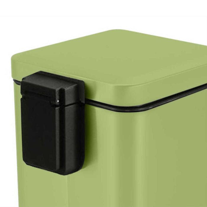 2X 12L Foot Pedal Stainless Steel Rubbish Recycling Garbage Waste Trash Bin Square Green
