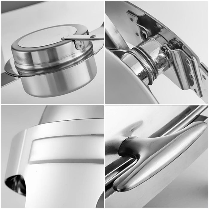 6L Round Chafing Stainless Steel Food Warmer with Glass Roll Top