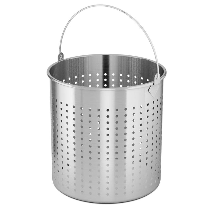 50L 18/10 Stainless Steel Perforated Stockpot Basket Pasta Strainer with Handle