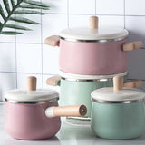 22cm-Enamel-Milk-Pot-Ceramic-Saucepan-with-Lid-Stockpot-Set-Pink-HEY-CeramicKettleRedSet-afterpay-laybuy-latitudepay
