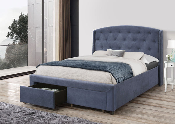 Stella Bedframe Queen Size Navy Blue